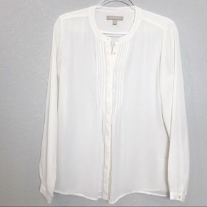 Banana Republic ivory pleat mandarin collar blouse